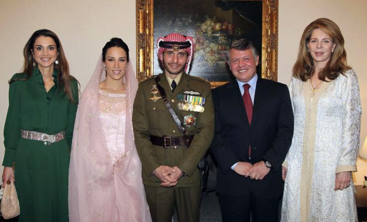 From right to left: The former Lisa Hallaby, King Abdullah, Prince Hamzah and his wife, Queen Rania