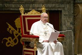 Pope Francis on his throne