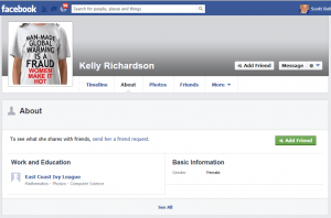 Tom Harrison as Kelly Richardson on Facebook... Notice the gender selection.. Click to enlarge