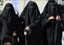 Muslim women in Niqabs